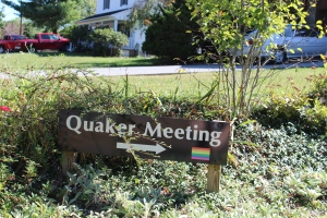 Sign to Quaker Meeting with rainbow